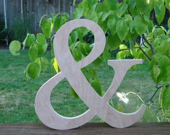 "15"" Unfinished wooden Ampersand Great Wedding Photo Prop"