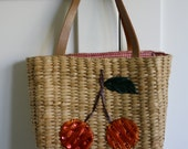 Vintage retro whicker basket with  cute cherry design