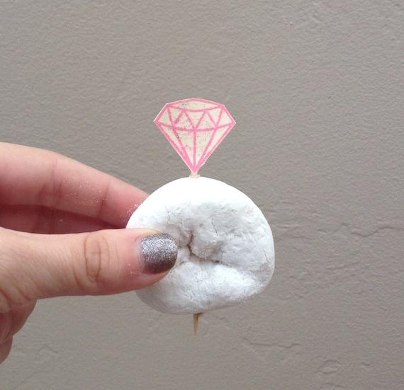 Set Of 12 Donut Diamond Picks For Bridal Shower Wedding