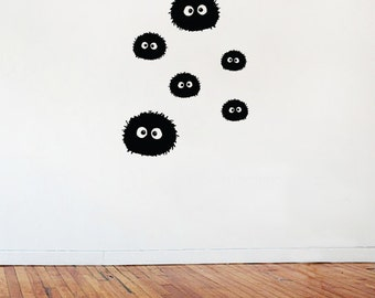 Soot Sprites Wall Vinyl / decal - Pack of Six - largest size = 100 x 80mm