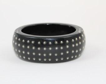 Vintage Oval Lucite Bracelet With Studs