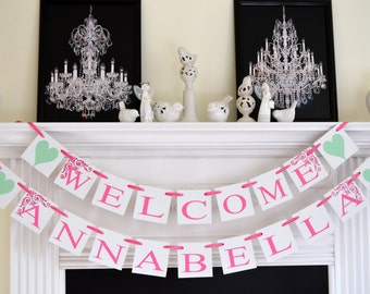 WELCOME BABY Banners, Baby Girl Shower, Baby Shower Banners, Baby Boy Shower