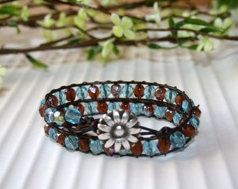 leather wrap bracelet, beaded bracelet, boho bracelet, boho jewelry, aqua bracelet, trendy jewelry