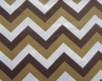 Brown Chevron Fabric,  1 yard 12 inches long, 100% Cotton, Brown  Zig Zag Fabric, Tan Chevron Fabric