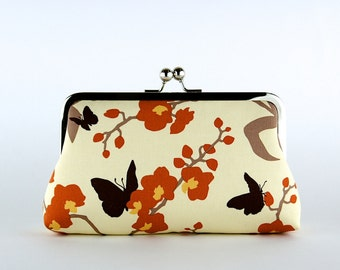 Bridesmaid Gift, Orchid and Butterfly, Silk Lining, Bridesmaid Clutch, Wedding clutch