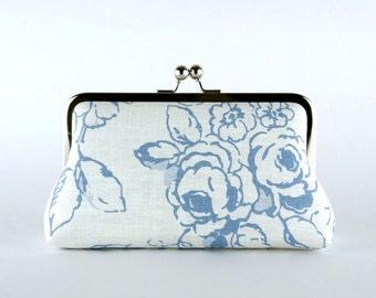 Wedding  Clutch, Roses in Denim Blue Clutch, Silk Lining, Bridesmaid Gift, Bridesmaid clutch, Denim collection