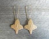 Brass Bohemian Earrings - Gypsy Boho Fleur de Lis Filigree Earrings - Gift for Her