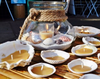 Oyster SeaLites: Beeswax Tea Lights in Sea Shells