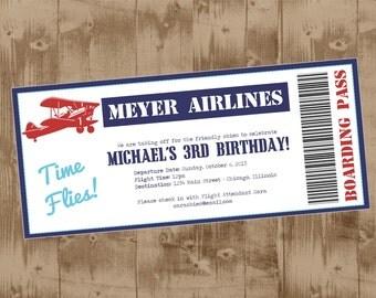 Vintage Airplane boarding pass Printable Invite