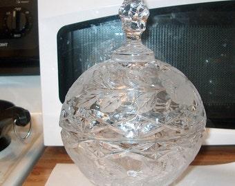 Vintage Crystal Glass Candy Jar w/ Lid, WAS 30.00 - 50% = 15.00