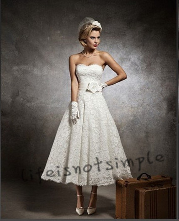 Short Wedding dresses short wedding gown Ivory/White lace Wedding dress Bridal Gown custom size ++++++