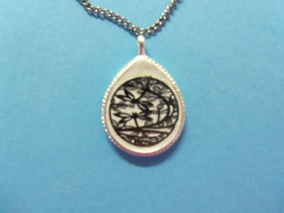 Bezel Pendant using Epoxy clay & laser-cut charm showing dragonflies and trees
