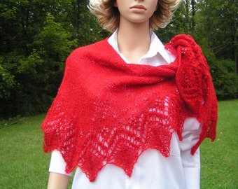 Elegant  Lace Ruby Hand Knitted Shawl