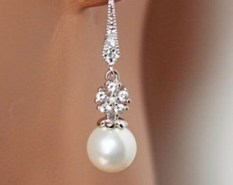 Rhinestone Pearl Wedding Earrings, Pearl Drop Bridal Earrings, Simply Elegance, Bridesmaid Cubic Zirconia Earrings, Dainty
