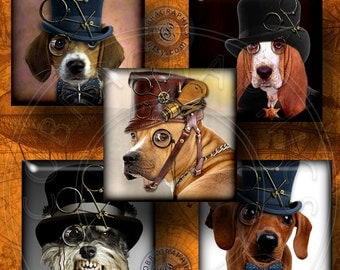 Steampunk Dogs - 1x1 inch and scrabble tile images - Digital Collage Sheet CG-609S Printable Download - Printable Images for Jewelry, Crafts