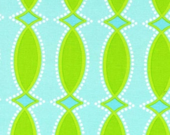 Per Yard Michael Miller Trellis, Aqua/ Lime Green fabric from the Garden Party Collection of Pillow and Maxfield
