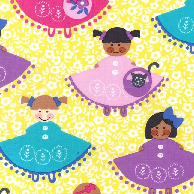 Michael miller dollies fabric by the yard happy town for Children s clothing fabric by the yard