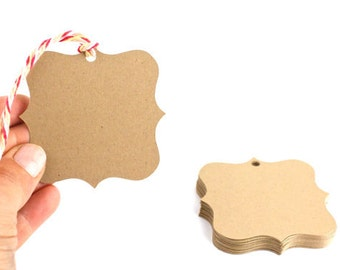 24 Kraft Die Cut Tags - 2.5 x 2.5 - Your Choice of Color - Perfec Wedding tags, Gift Tags, Merchandise Tag and so much more!