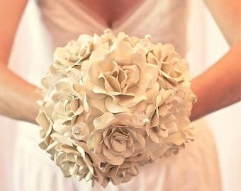 Custom Paper Flower Wedding Bouquet - Bridal Bouquet - Bridesmaid Bouquet