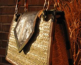 PALM TREE PURSE Rustic Home Decor Straw Purse Straw Handbag Rustic Palm  Tree Designer Handbags Designer