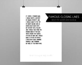 CAT'S CRADLE  Kurt Vonnegut // quote poster // Select a Size // black & white // last lines Vonnegut's Cat's Cradle