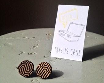 Honeycomb I'm Home laser cut walnut timber earrings