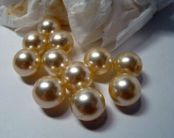 "Vintage half-drilled glass pearls - 1/2"" - 10 pieces"