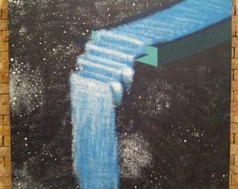 Pastel Painting: Waterfall off steps in space Wall Art