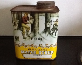 1950's Maple Syrup can NEVER OPENED! Not for consumption after this many years!