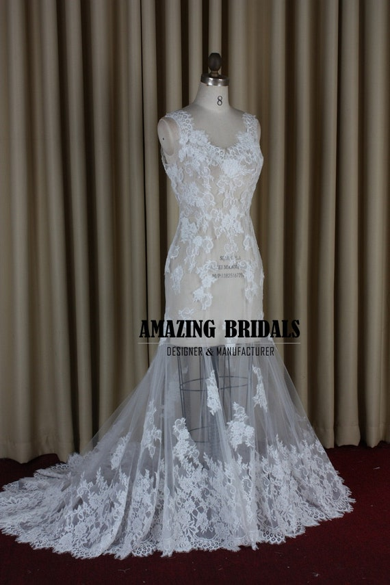 Wedding Dress Removable Lace Overlay : Stunning removable lace overlay trumpet wedding dress sexy deep v