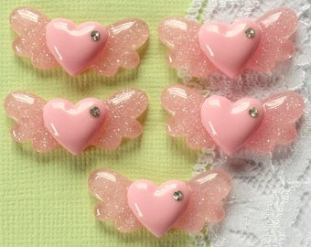 5 Pcs Pink Glittery Flying Heart Cabochons - 28x15mm