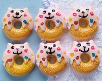 6 Pcs Happy Doughnut Cabochons - 23mm