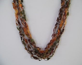 Autumn Colors Ladder Trellis Yarn Necklace