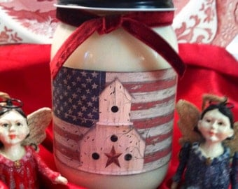 Primitive Americana God Bless America 16oz Mason Jar Natural Soy Wax Candle Soy Candle Your Choice of Scent