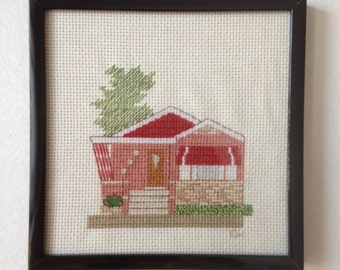 Chicago Mid Century Ranch Bungalow Cross Stitch
