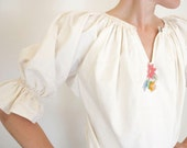 Creamy White Organic Linen Handmade Blouse With Embroidered Flowers Wedding Bridal Bride