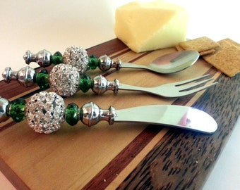 3 Piece Appetizer Set -- Cheese Spreader, Canape Fork and Spoon