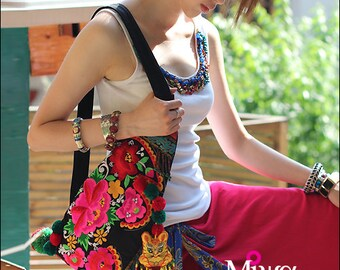Miya's Original Ethnic Hmong Embroidered Bag  Purse Shoulderbag Handbag - Flowering