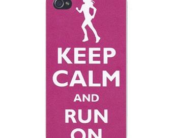 Apple iPhone Custom Case White Plastic Snap on - Keep Calm and Run On Female Jogger 0059