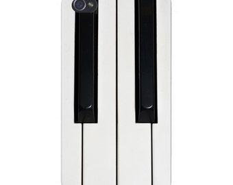 Apple iPhone Custom Case White Plastic Snap on - Black & White Piano Keys 4720