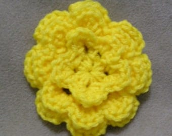 Yellow Crocheted Flower Hairclip