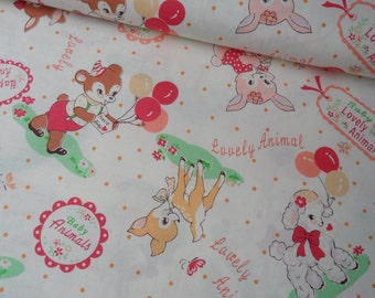 "Fat Quarter of Atsuko Matsuyama Gift for Baby by Yuwa Fabric on Off White Background. Approx. 18"" x 22"" Made in Japan."