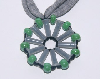 Green Othelma - Recycled plastic & fabric necklace