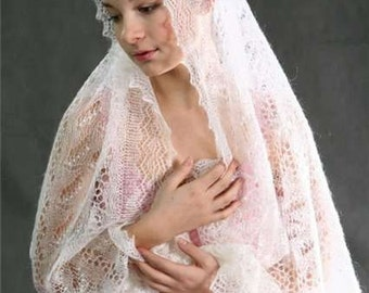 Woman shawl. Wedding shawl  Knitted  Orenburg shawl.