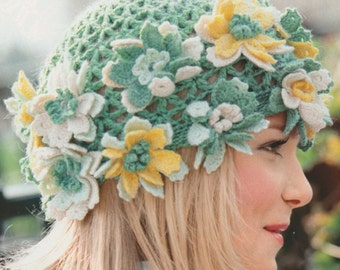 Hat with Flowers, Crocheted cap, Girl Accessories