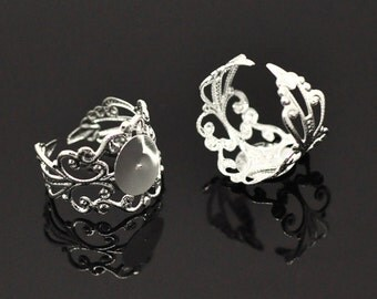 10pcs Filigree Adjustable Ring with Plat