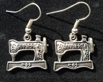 Singer Sewing Machine Earrings on Sterling Silver Plated Hooks