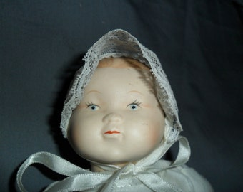 Vintage Porcelain Baby Doll in Christening Gown