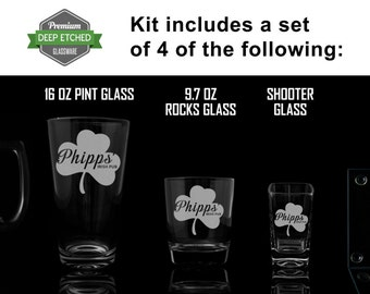 Custom Home Bar Kit, Includes Etched Mugs, shooter glasses, rocks glasses, coasters, pint glasses all Personalized with Pub logo to match
