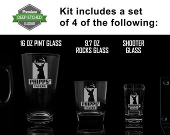 Custom Home Bar Kit, Includes Etched Mugs, shooter glasses, rocks glasses, coasters, pint glasses all Personalized with Tavern logo to match